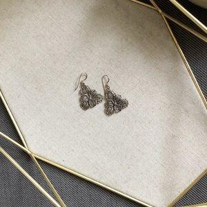 Jewelry - Silver engraved flower earrings